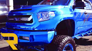 Chrome Blue Custom 2016 Toyota Tundra Wide Body SEMA 2016 - YouTube