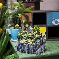 cute miniature broken bucket flower pot cottage vertical sculpture planter for succulents diy fairy garden plants flowerpot grey