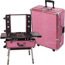 rolling makeup case with lighted mirror professional pink trolley portable cosmetic makeup artist table rolling makeup case