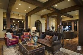 Traditional Living Room With Columns, Millwork Block   Burnt Ombre 12 Mm  Laminate Wood Look