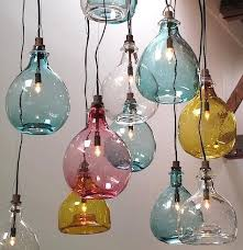 hand blown glass lighting fixtures. above glass jug pendant lamps inspired by vintage wine jugs are available with a rounded or flat bottom the small size 11 inches high is 395 and hand blown lighting fixtures y