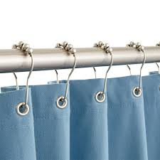 roller ball shower curtain rings brushed nickel open
