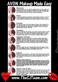 Avon Foundation Colour Chart Avon Makeup Made Easy Chart Step By Step Instructions On