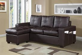 2 pc everly collection brown faux leather upholstered sectional sofa set with reversible ottoman chaise