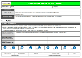 Safe Work Method Statement Template