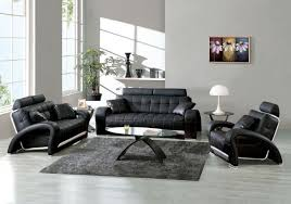 black leather living room furniture.  Leather Lovable Gray Leather Living Room Furniture Best Design Ideas  With Modern Black Sofa Intended S