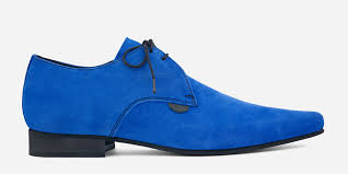 155.00 paul winklepicker shoe – <b>royal blue</b> suede – <b>custom made</b>
