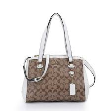 Coach Logo Monogram HW316 Satchel In Apricot White