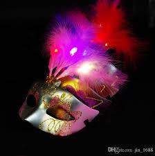 Mask Decorating Supplies Halloween Led Feather Mask Party Flash Mask Masquerade Masks 23