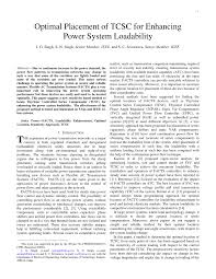 PDF) Optimal Placement of TCSC for Enhancement of Power System Loadability
