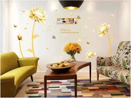 golden flower 3d wall sticker home decor beauty tulip wall decal for living room wallpaper souq uae