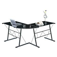 office depot glass desk. Beautiful Depot Furniture Fascinating Black Glass L Shaped Desk 19 Computer Smoked Tempered  Corner Flash With Silver Frame Throughout Office Depot E