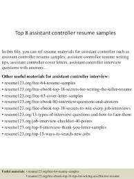 Top 8 assistant controller resume samples In this file, you can ref resume  materials for ...