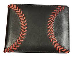 Men s Black Leather Baseball Seam Bi-Fold Wallet