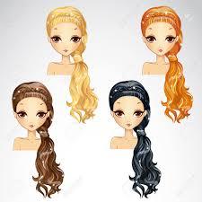美しいイベント髪型女の子設定のベクトル イラストのイラスト素材