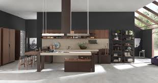 Two Level Kitchen Island Cabinets Storages Dark Grey Painted Wall Decorative Modern