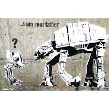 Wrapped over sustainable 1.5 deep fsc certified pine wood. Banksy I Am Your Father Street Art Graffiti