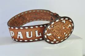 details about tony lama brown tooled leather western belt name paul size 26