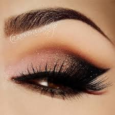 peach gold shimmer black smokey eye makeup