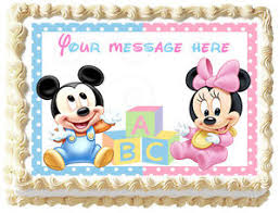 BABY MICKEY MOUSE & MINNIE MOUSE Image Edible Cake topper