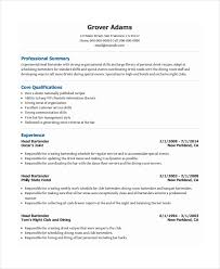 Free Bartender Resume Templates Template 6 Word Pdf Document