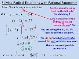 11 solve check for extraneous solutions solving radical equations with rational exponents