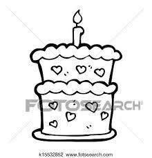 Cartoon Birthday Cake Drawing K15532852 Fotosearch