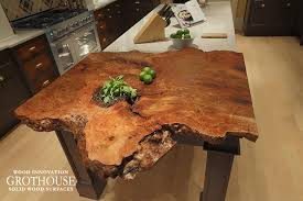 details of the live edge countertop in house beautiful