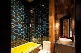 Dark Red Bathroom Bathroom Ideas Red Geometric Glass Tile Wall Bathroom