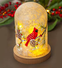 Lighted Glass Cloche Lighted Holiday Cardinal Cloche Plowhearth