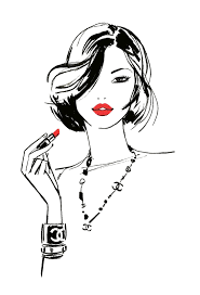 Download Fashion Girls Illustration Drawing Lips Chanel Red Hq Png
