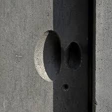 basalt door handle by swiss architect peter zumthor in the museum of the cologne diocese anew rebuilt modern building on the ruins of the late romanesque