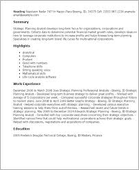 Resume Templates: Strategic Planning Analyst