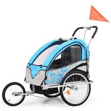 Huberxxl 2 In 1 Kinder Fahrradanhänger Kinderwagen Blau Und Grau