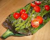 antipasto of asparagus with freshly grated parmigiano cheese