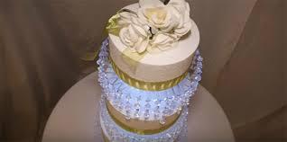 diy 3 tier lit chandelier wedding cake stand