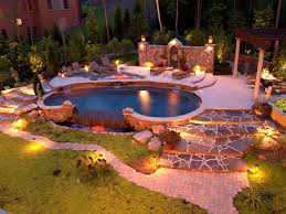 pool landscape lighting ideas. modern landscape lighting ideas around kidney shaped pool with stone floors a