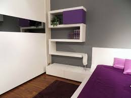 purple modern bedroom designs. Custom Bookdhelves With Purple Accent Hang On Gray Wall Color Added Cover Bedding Sheet White Queen Beds In Modern Guest Small Bedroom Ideas Designs I