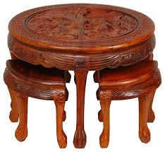 carved circular coffee table with stools 5 piece set traditional round chinese