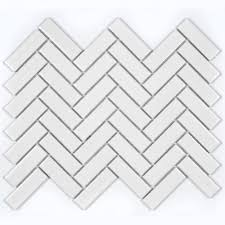 herringbone white gloss 30cm x 33cm wall floor mosaic