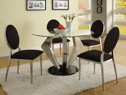 dining room modern round glass top satin dining table support with black finish base
