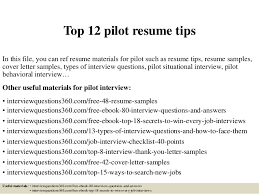 Pilot Resumes Top 12 Pilot Resume Tips