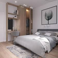 modern bedroom. A Modern Bedroom In White And Light Grey, Wooden Floors Wall Item