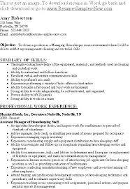 Sample Resume For Housekeeper Hospital Housekeeping Free Sample