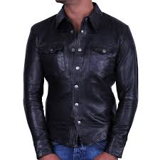 men s black leather shirt jacket danzel