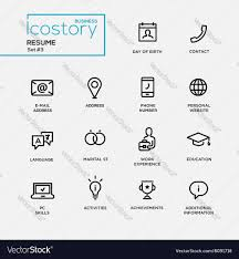 Modern Resume Contact Information Modern Resume Simple Thin Line Design Icons Vector Image