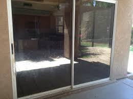 scratched sliding door glass after repair full view