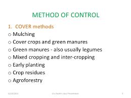 Control Of Soil Erosion