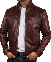 men s motorcycle stand up collar brown real leather jacket