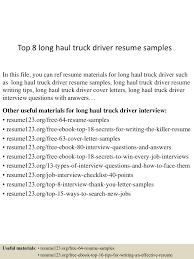 truck driver resume cover letter cipanewsletter top8longhaultruckdriverresumesamples 150723083823 lva1 app6892 thumbnail 4 jpg cb u003d1437640749 from slideshare net